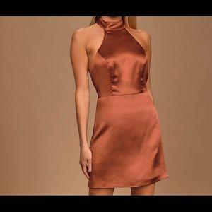 Celebrate Me Rust Brown Satin Halter Mini Dress